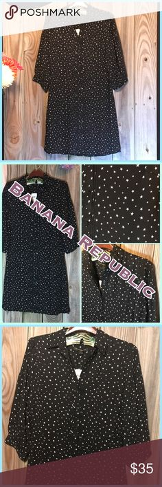 """⭐️ Adorable Stars in the sky button down Dress ⭐️ ⭐️ Banana Republic Stars in the sky black button down Dress. This dress is so cute it's a looser fit lined with full buttons down front. Adorable detail on top of sleeve and down front next to buttons. Sleeves 3/4 with buttons. Measurements - length 36"""", sleeve 18"""", bust 17.5"""" across from. This dress can be worn with or without a belt. Materials Polyester machine wash ♥️ Top seller, fast shipping, Posh ambassador.  Check out my closet most…"""
