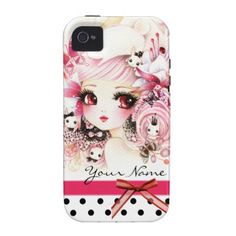 Personalized - Beautiful anime girl with bunnies iPhone 4 Cases