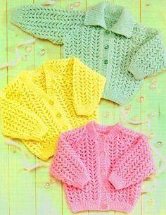 Knitting Patterns Modern Littlewoods Knitting Patterns for Baby Baby Cardigan Knitting Pattern Free, Knitted Baby Cardigan, Knit Baby Sweaters, Baby Knitting Patterns, Baby Patterns, Free Knitting, Cardigan Bebe, Vintage Knitting, Babies