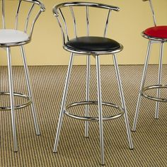 Cleveland Chrome Plated Bar Stool with Upholstered Seat by Coaster - Coaster Dealer Locator - Bar Stool