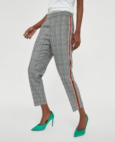 Image 2 of CHECKED TROUSERS WITH SIDE STRIPES from Zara