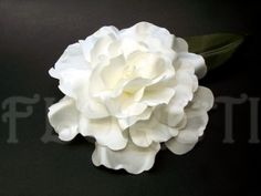 Handmade LaLuna Gardenia White Satin Bridal Hair Flower Accessory Winter Wedding Veil Clip        Abstract-Impressionist LaLuna  gardenia bloom is great for any occasion. Wear it to embellish your dress, hat, or simply pinup in your hair.  Custom-made of white satin with an olive color leaf.