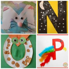 These letter of the week crafts give young kids a fun way to learn what sounds to associate with what letter. All the letters in one place! Letters For Kids, Preschool Letters, Preschool Activities, Preschool Names, Preschool Schedule, Montessori Math, Preschool Lessons, Alphabet Letter Crafts, Alphabet Activities