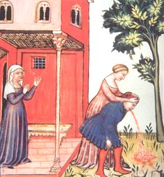 """This manuscript illumination of a man vomiting is from the """"Tacuinum Sanitatis,"""" which is a 14th century Latin translation of an 11th century Arabic book about medicine and the natural sciences."""