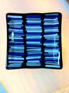 Black Fused Glass Plate with Colored Stripes - books? Slumped Glass, Fused Glass Plates, Fused Glass Jewelry, Fused Glass Art, Glass Dishes, Mosaic Glass, Stained Glass, Glass Bowls, Glass Fusion Ideas