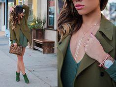Jessi Malay - Topshop Olive Green Coat, Revolve Sweater Dress, Elizabeth & James Leopard Clutch, Tony Bianco Titan, Ruby Stella Body Chain, Dita Condor Two - OliveJuice | Fall Essentials