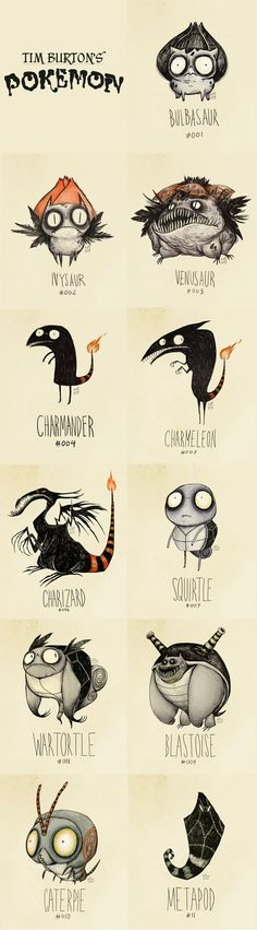 Illustration / Tim Burtons Pokemon - Not Tim Burton himself, but the style is wonderful Estilo Tim Burton, Arte Tim Burton, Tim Burton Style, Character Concept, Character Art, Concept Art, Tim Burton Pokemon, Illustrations, Illustration Art