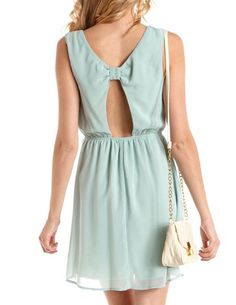 Bow-Back Studded Mint Chiffon Dress: Charlotte Russe $25