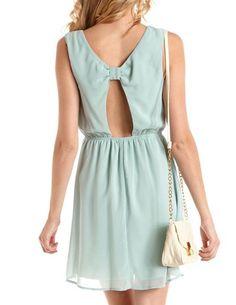 Bow-Back Studded Mint Chiffon Dress: Charlotte Russe $25