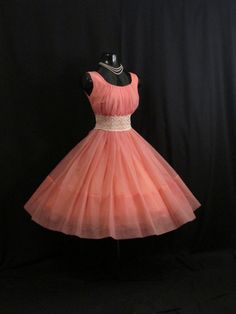 Vintage 1950's 50s Bombshell Coral PINK Salmon Ruched Chiffon Rhinestones Circle Skirt Party Prom Wedding Dress