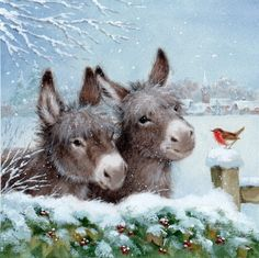 Leading Illustration & Publishing Agency based in London, New York & Marbella. Christmas Scenes, Christmas Pictures, Christmas Art, Xmas, Hirsch Illustration, Illustration Noel, Christmas Donkey, Christmas Animals, Picture Gifts