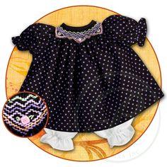 Purple Polkadot Black English Smocked Doll Dress 15F 5673DD