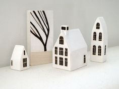 Miniature Wood Town - Set of 3