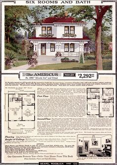 """The Americus"" 1923 Sears Spanish Revival plan with a red roof and white siding Sears Catalog Homes, Architecture Design, Vintage House Plans, Vintage Homes, Home Catalogue, Second Empire, Craftsman Bungalows, Craftsman Houses, Kit Homes"