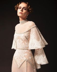 Atelier Krikor Jabotian takes pride in its refined craftsmanship and use of opulent fabrics to create a timeless message of heritage, style, tradition and innovation. Look Vintage, Vintage Mode, Krikor Jabotian, Lace Dress, Dress Up, Romantic Lace, Haute Couture Fashion, Fashion Show, Fashion Design