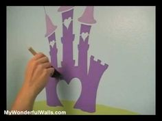 http://www.mywonderfulwalls.com/ DIY Princess Room for Girls   In this instructional video you'll see how easy it is to paint a full-room princess theme wall mural your girl will love. This girl's room wall mural stencil kit by My Wonderful Walls is full of all things princess including princess stencil, castle stencil, dragon stencil, princess ...