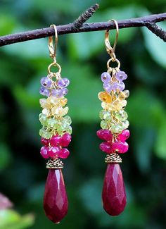Multi Gemstone Dangle Earring.Purple Amethyst.Green