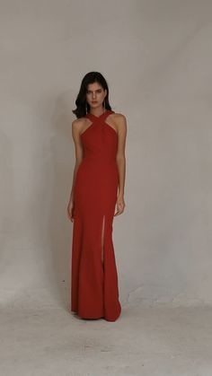 These two bridesmaid dresses are very soft and comfortable. #bridesmaiddresses #Alfabridal Inexpensive Bridesmaid Dresses, Knee Length Bridesmaid Dresses, Bridesmaid Dresses Online, Bridesmaids, Prom Dresses, Neckline Designs, Spandex Dress, Slit Dress, Formal Gowns