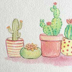 Acuarela de cactus suculenta arte arte por ImagoDeiNurseryDecor Cactus Drawing, Cactus Painting, Watercolor Cactus, Cactus Art, Easy Watercolor, Cactus Flower, Cactus Illustration, Prickly Pear Cactus, Cactus Y Suculentas