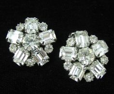 Vintage Signed WEISS Clear Rhinestone Clip On Earrings #Weiss
