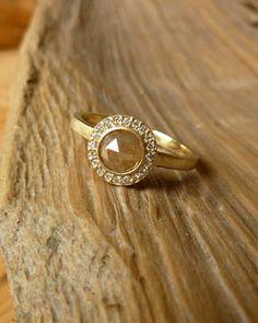 Rose Cut Diamond and Pave Set Halo Ring