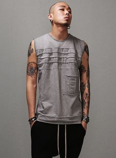 Lunar Dusty Washed Multi Seamed Tank Top $34.20  #men #fashion #style #street #vest #tanktop #washed #grunge #dusty #sleeveless #gray #charcoal