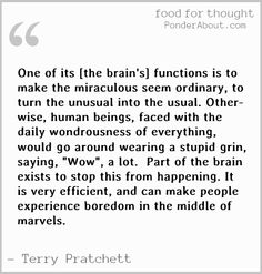See the miracles, forget the boredom. And read Sir Pterry.