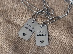 Custom dog tag set, Personalized military dog tag set, Couple anniversary gift by YouCanMAKEitPERSONAL on Etsy