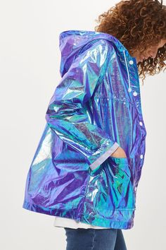 Holographic rain coat by Topshop