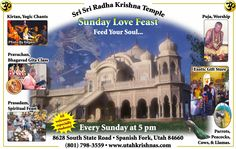 (I think this would be really interesting to experience and learn about.)  Sri Sri Radha Krishna Temple - a regular Sunday service and feast which is open to the public. Dress is clean and casual. Enjoy an evening of music, dance, philosophy, story telling, and a delicious buffet style vegetarian feast! Suggested donation of three bucks per person.