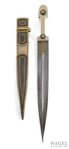 Fine Kinjal, Caucasus, circa 1800. Blade with gilt inscription and bone hilt with gilt ornaments. Very fine niello scabbard. Provenance: From an old important private collection in Alsace. Top of the scabbard missing, hilt slightly chipped, gilding worn in some places.