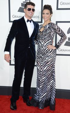 Robin Thicke & Paula Patton from 2014 Grammys: Red Carpet Arrivals | E! Online