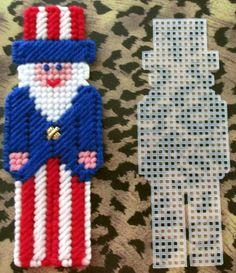 Plastic Canvas Uncle Sam Magnet or Ornament with by AdelesCrafts