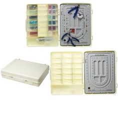 The perfect, portable bead organizer/bead board attaché case. It contains 18 stackable, clear plastic storage containers, complete with hinged, tight-fitting lids. The removable, flocked bead board fits into the top of the case and has extra storage underneath. The bead board is calibrated in inches for ease of designing.  Makes traveling easy and fun.<br /><br />Shape and style of clear plastic storage containers may vary from the image.