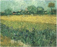 View of Arles with Irises in the Foreground by Vincent Van Gogh  Painting, Oil on Canvas  Arles: May, 1888