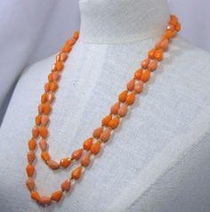 52 inch Orange Faceted  Teardrop Bead Acrylic  by MrsFinder, $7.00