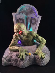 animated dead ed zombie rising from grave gemmy lighted halloween tombstone - Lighted Halloween Decorations
