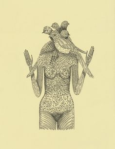 """Head of Feathers"" Print from Original ink Drawing on Paper by Elsa Mora"