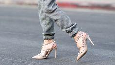 Skinny jeans + studded heels