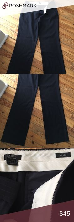 J.Crew Super 120's Navy Pinstripe Pants - Size 4 Excellent condition. Worn once. J.Crew Suiting pants in Navy pinstripe. Size 4. City fit. J. Crew Pants Trousers