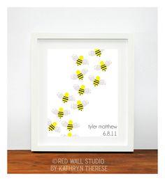 So cute!! Want to do this! Baby Nursery Art - Footprint Bumble Bee Nursery Decor - Baby Wall Art Yellow and Gray Nursery - Personalized Kids Wall Art - Unisex Nursery. $35.00, via Etsy.