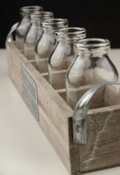 Bottles & Wood Crate Petites Fleur 5 Glass Bottles Save on Crafts - DIY on a budget.must remember to use this website when shopping for craft supplies!Save on Crafts - DIY on a budget.must remember to use this website when shopping for craft supplies! Save On Crafts, Arts And Crafts, Diy Crafts, Adult Crafts, Casa Park, Glass Milk Bottles, Milk Jars, Glass Jars, Do It Yourself Inspiration