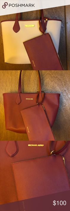 0ba7c302816f Authentic Michael Kors reversible tote Like new! Cream berry color  reversible tote with matching