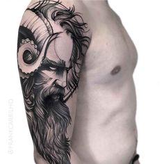 poseidon tattoo on shoulder