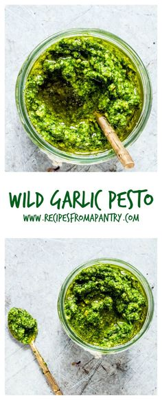 Love pesto - then try this easy homemade wild garlic pesto recipe made with wild garlic (ransomes), Parmesan, cashew nuts and olive oil. | http://recipesfromapantry.com