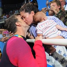 Nicole Johnson congratulates Gold medalist Michael Phelps at Rio Olympics