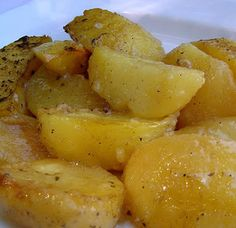 Roasted Greek Potatoes | lemony, garlicy, delicious. Love these I need more cook time but they are flipping awesome.