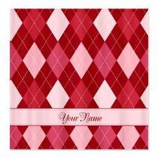 Pink and Red Argyle Pattern - Personalized! Shower Curtain