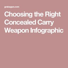 Choosing the Right Concealed Carry Weapon Infographic
