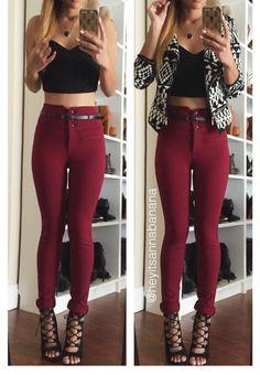 Skinny Belted Jeggings Pants - Burgundy – Colors of Aurora